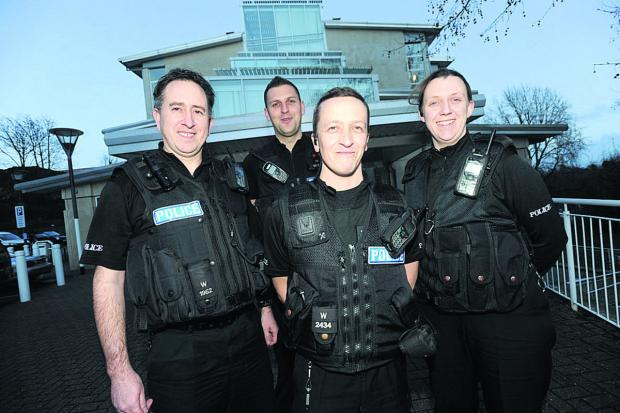This Is Wiltshire: Police heroes PC Stephen Carroll, left PC Jamie Ball, PC Nick McVey and PC Hayley Hardie
