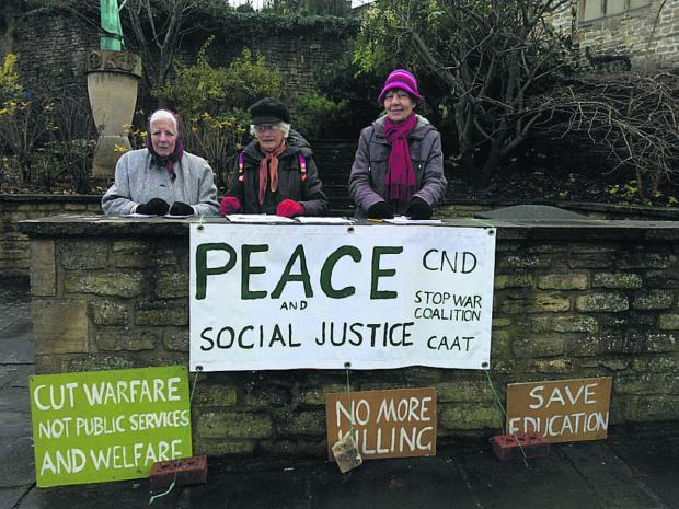 This Is Wiltshire: Stand Up For Peace group members, from left, Beatrice Valatin, Virginia Brookes and Chris Sylve