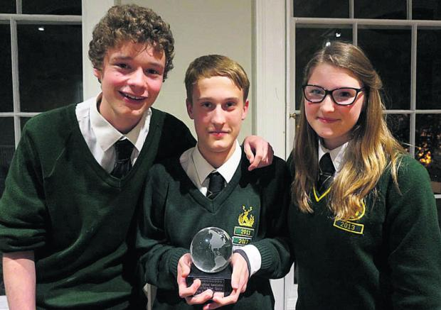 This Is Wiltshire: Samuel Davey, Ella Mackintosh and Joseph West, of Hardenhuish School in Chippenham, got through to the regional final of a geography quiz