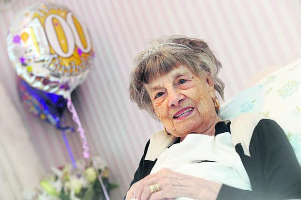 This Is Wiltshire: Phyllis Whitcombe celebrates her 100th birthday at home                                (DV1009) By DIANE VOSE