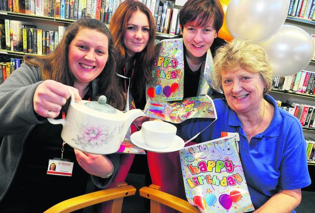This Is Wiltshire: Moredon and Rodbourne Cheney Library staff and customers, from left, Michelle Fitzpatrick, Ellen Carter, Leah Bevan and Hilary Mayse