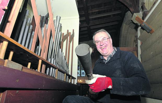 This Is Wiltshire: Ago Tint from Tallinn removes pipes from the Edington Priory organ while