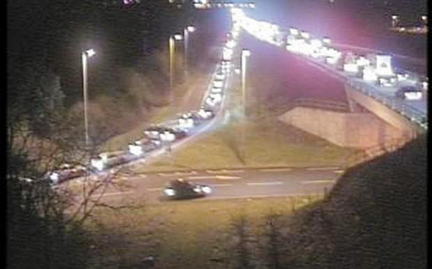 This Is Wiltshire: Traffic builds up following the accident on the A419