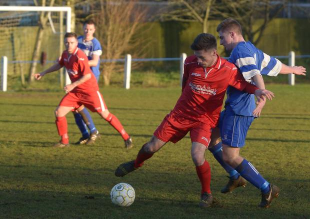 This Is Wiltshire: Bassett's Ryan Stanners and Shrivvy's Ryan Wilkinson battle for the ball