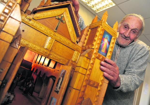 This Is Wiltshire: Pensioner Daniel Struve who made a cathedral donation box for the children's A&E department at GWH