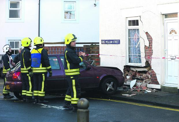 This Is Wiltshire: The scene of the accident in King William Street yesterday