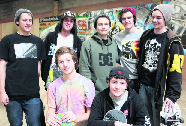This Is Wiltshire: Skaters at the ATB Skate Warehouse were in West Swindon in November to discuss a skate park plan with residents. Back Row from left, Tom Price, John McKenna, Luke Prout, Zak Frewin and Matt Drever. Front Row from left, Billy Steinmann and James Cooper