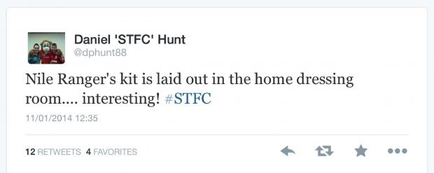 This Is Wiltshire: Saturday 12.30pm. Town fan Daniel Hunt Tweet's that he has seen Nile Ranger's kit laid out