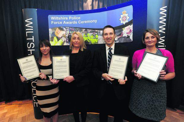 This Is Wiltshire: Collecting their accolades at the Wiltshire Police Awards at Devizes HQ. From left, Laura Lynch, Detective Sergeant Debi Ellender, Detective Inspector Matt Davey and Helen Worthington