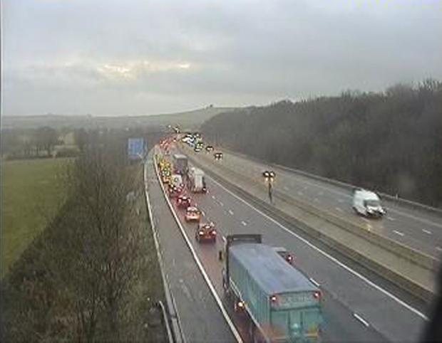 This Is Wiltshire: Queues on the eastbound M4 at junction 15