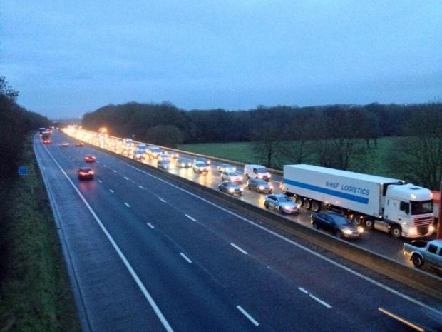 This Is Wiltshire: Queues of traffic on the eastbound M4 this morning following the accident between junctions 14 and 15 (Picture: BBC Wiltshire)