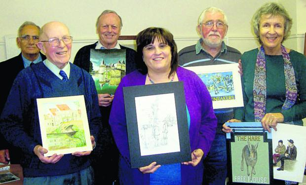 This Is Wiltshire: Phil Flowerdew, Wootton Bassett Art Society president, with award winners Jack Fairgrieve, Bill Baines, Sue Tennant, Hugh Dow and Pa
