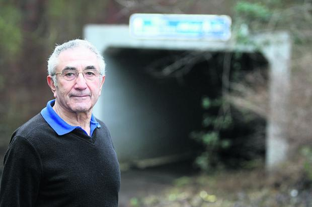 This Is Wiltshire: Arthur Beltrami pictured at the Saltway underpass, Sparcells, which floods every time there is heavy rain