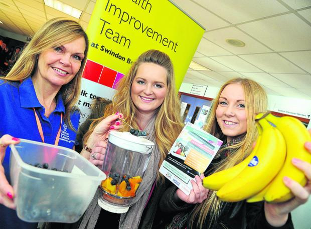 This Is Wiltshire: From left, Debbie Mitchell, Lauren Roberts and  Hannah Williams at the launch of a new health