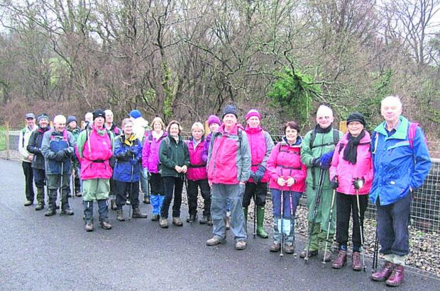 This Is Wiltshire: The Westbury Walkers pictured outside the Combe Down tunnel entrance on Sunday