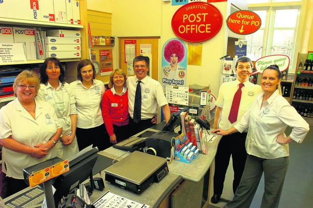This Is Wiltshire: Anthea Young, Emma Green, Rachel Moody, Gail Mather,  Paul Mather and Saira Harris at Sherston Post Office
