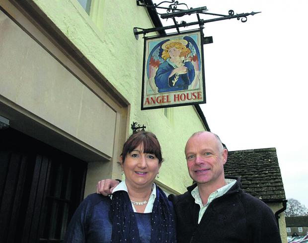 This Is Wiltshire: Paul Jarvis and his wife Caroline outside The Angel in Sherston