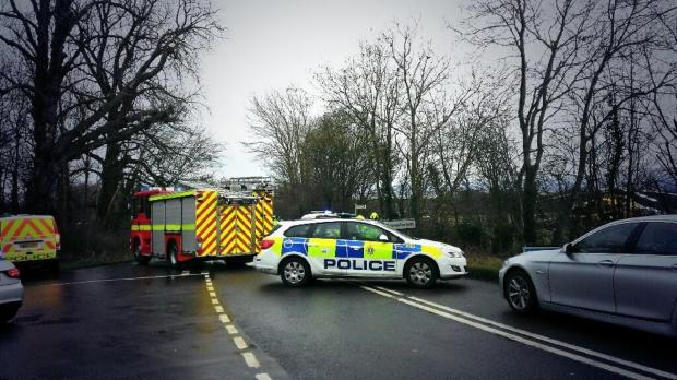 This Is Wiltshire: The emergency services at the crash scene on Kingsdown Road
