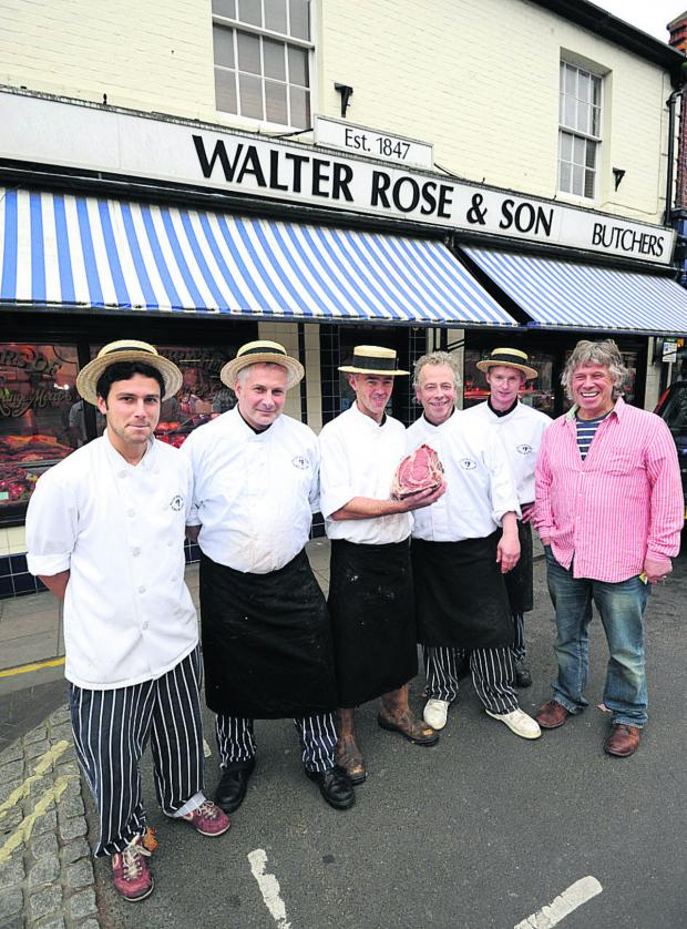 This Is Wiltshire: Phillip Jefferys, Andrew Cook, Andrew Cunliff and Stephen Cook outside Walter Rose Butchers