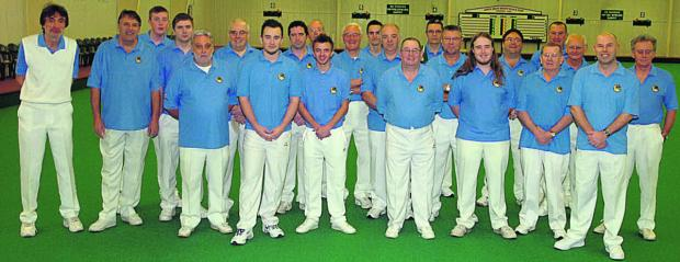 This Is Wiltshire: Wiltshire's team, pictured before last weekend's Liberty Trophy tie against Somerset at North Wilts Indoor Bowls Club, in Chippenham              Pictures by Paul Morris (PM981-00)