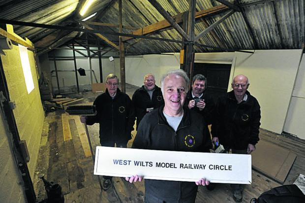 This Is Wiltshire: Ron Pybus, centre, Circle chairman and members, from left, Harry Harper, Ray Stowe, John Roxburgh and Barry Hollins in their new  premises at Holt Tannery