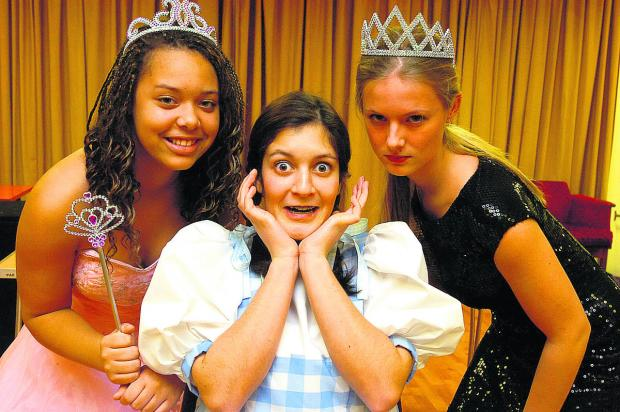 This Is Wiltshire: Hi-Light members prepare for their next panto Wizard of Oz, left, Tianna Weir as the good witch, Rhianna Kuller as Dorothy and Bobbie Cone the bad Witch