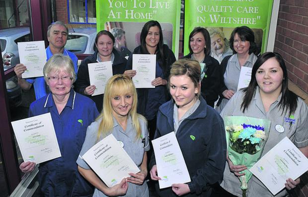 This Is Wiltshire: Somerset Care support workers with their certificates, back row from left, Tony Denny, Jade Hornby, Lucy Tomes, Rheanna Hall and Angela Stacey; front, Ann King, Maria Hateley, Amber Matthews and Samantha Rose