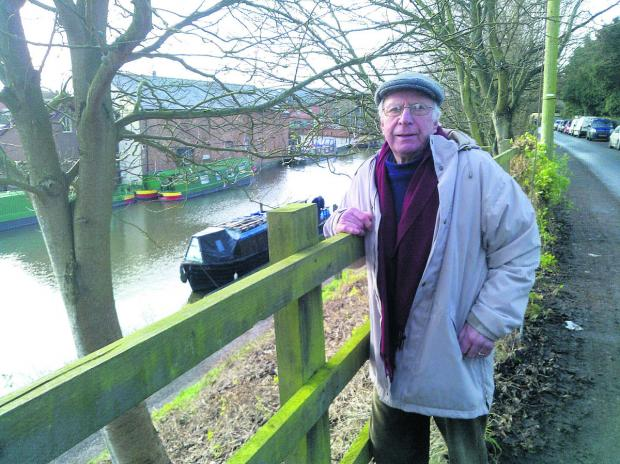 This Is Wiltshire: Pensioner Jeremy Cross on litter patrol near the canal in Devizes
