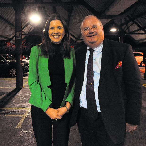 This Is Wiltshire: Communities secretary Eric Pickles with Michelle Donelan in the town's Bath Road Car Park