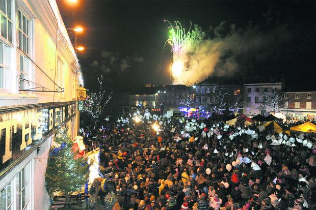 This Is Wiltshire: The lantern parade and fireworks that heralded the switching on of the Christmas lights in Devizes
