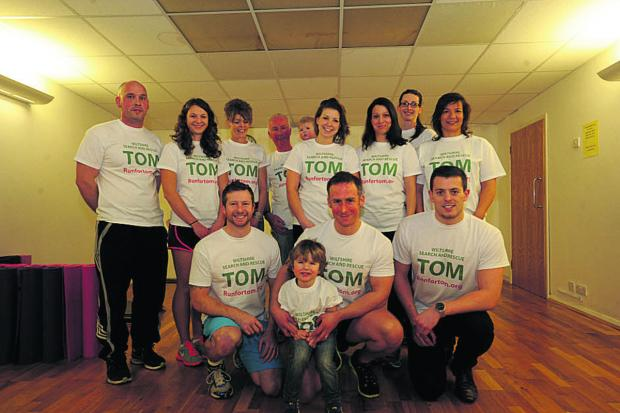 This Is Wiltshire: Front, Jason King, Will Edwards, with his son Jude, three, and Ed Grace with the group from First Step Gym who are running in memory of Tom Edwards