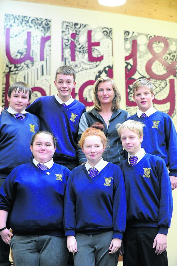 This Is Wiltshire: Artist Zoe Rucker with Sheldon School pupils Taylor, Lewis and Aaron; front, Jess, Kim and Liam