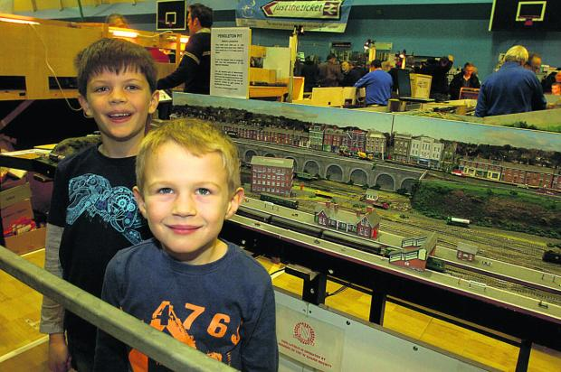 This Is Wiltshire: Jacob and Ethan Sault are all smiles at Calne Model Rail Show