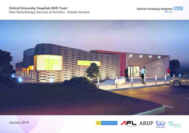 This Is Wiltshire: An artist's impression of the proposed radiotherapy unit for the Great Western Hospital site, which will be a satellite of the Oxford University Hospitals Trust