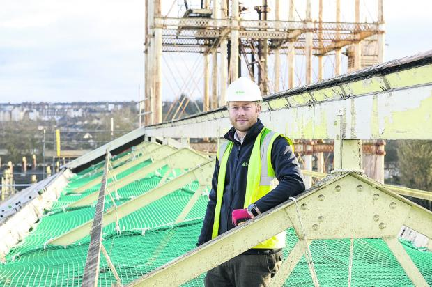 This Is Wiltshire: Craig Madders, site supervisor, is discovering the Great Western Mill's Victorian past as the  new University Technical College takes shape