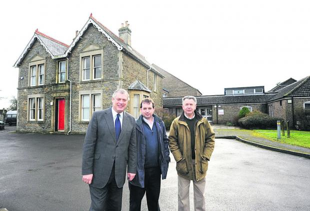This Is Wiltshire: Wiltshire Council deputy leader John Thomson, Wiltshire councillor for Malmesbury Simon Killane, and Malmesbury town councillor Bill Blake outside Burnham House