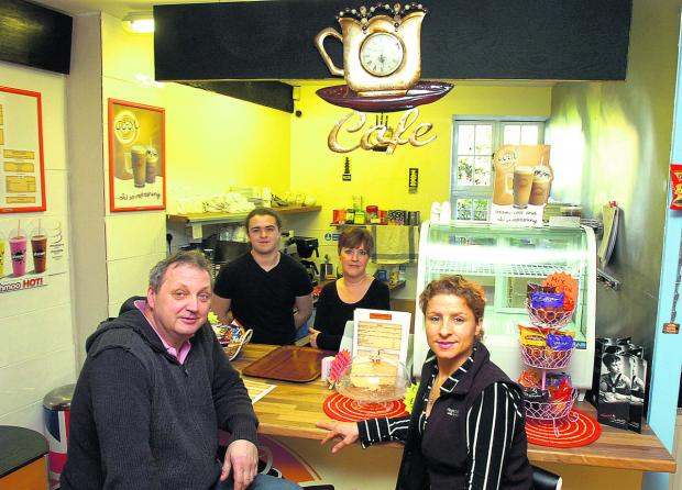 This Is Wiltshire: At the café, back, from left, Luke Furneaux and Debbie Caswell, and front, Richard Gorzelski and Edite Franca