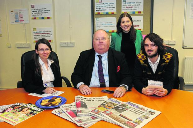 This Is Wiltshire: Eric Pickles and Michelle Donelan, centre, with reporters Julie Armstrong and Craig Jones. Right, Wiltshire Council leader Jane Scott