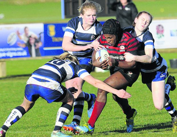 This Is Wiltshire: England star Maggie Alphonsi in action at Trowbridge RFC on Sunday