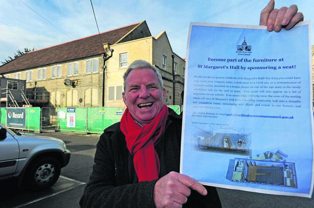 This Is Wiltshire: Mayor John Potter encourages people to sponsor a seat at the revamped St Margaret's Hall