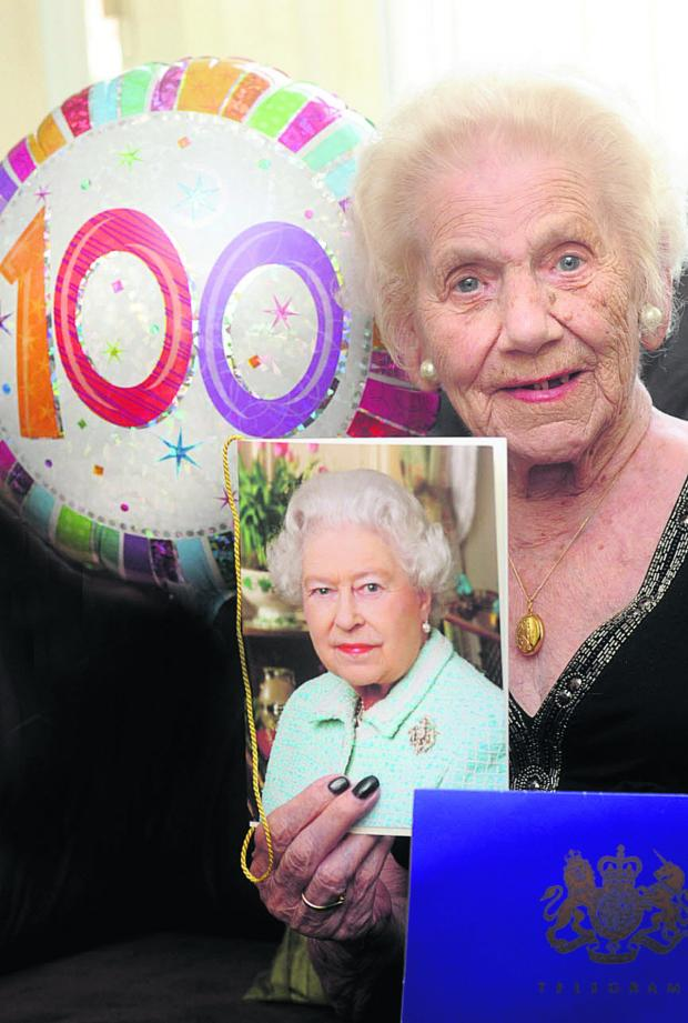 This Is Wiltshire: Dorothy Bland, with her card from the Queen on her 100th birthday last year