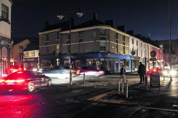 This Is Wiltshire: The corner of Wood Street and Devizes Road in darkness. Picture: Alex Skennerton