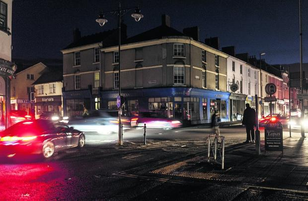 This Is Wiltshire: The corner of Wood Street and Devizes Road in darkness                               Picture: Alex Skennerton
