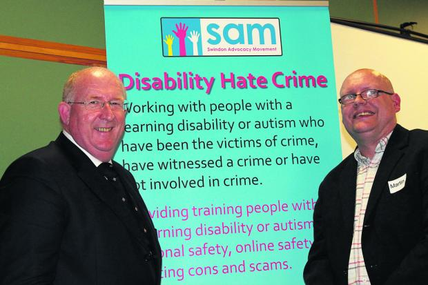This Is Wiltshire: Police and Crime Commissioner for Wiltshire and Swindon Angus Macpherson, left, with disability hate crime ambassador Martin Kelly