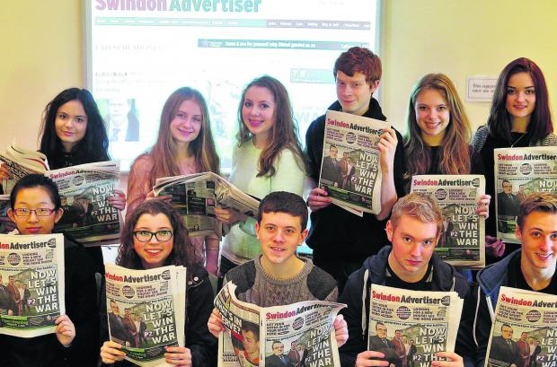 This Is Wiltshire: Some of the Swindon's sixth-form students got to grips with the pressures and pleasures of journalism on a two-day course