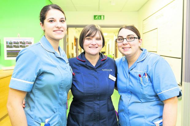 This Is Wiltshire: Nurse Alicia Hernandez, senior sister Stacey Cotter and staff nurse Caroline Windley. Picture: ALEX SKENNERTON