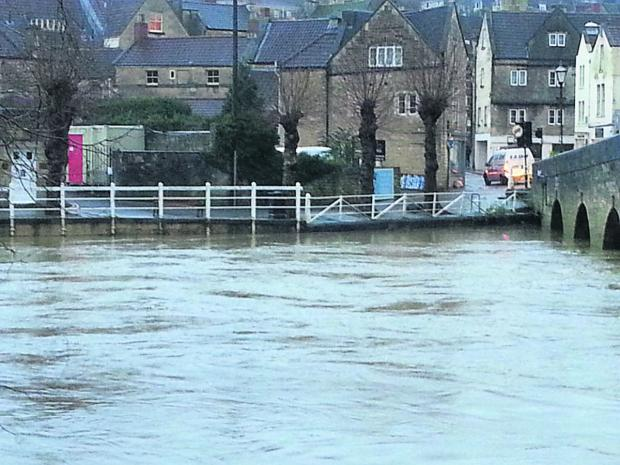 This Is Wiltshire: The view of the river at Bradford on Avon from the Bridge Street web cam this morning