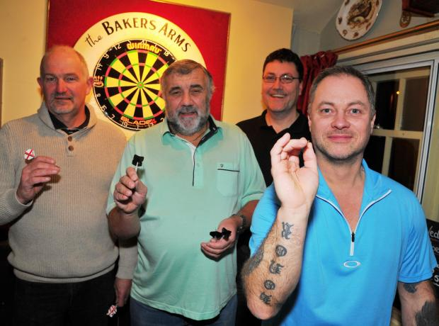This Is Wiltshire: n Bakers Arms winner Nick Budgen pictured with Mark Hancock, Mick Croydon and Paul Woolf