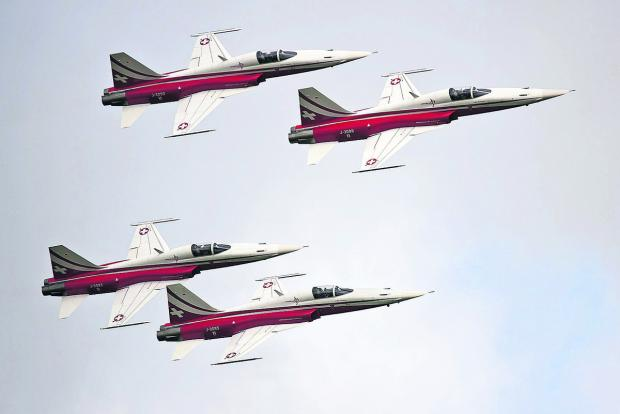 This Is Wiltshire: The Patrouille Suisse team in action
