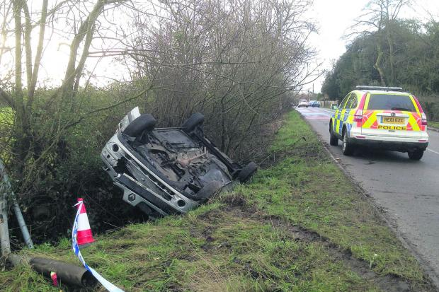 This Is Wiltshire: A car was flipped onto its roof near Whitley this morning
